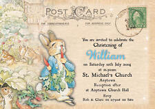 Personalised postcard peter rabbit Christening invitations Boy Baptism envelopes