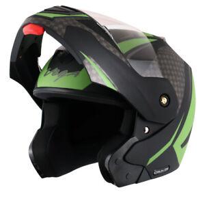 Vega Crux Dx Checks Black Green Flip Up Helmet