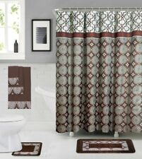 18 Piece Shower curtain set with Geometric design Made of 100%polyester(Douglas)