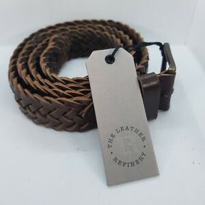 Mens Black or Brown Woven braided LEATHER belt in gift box. BNWT.