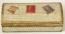 Vintage Italy Gold Gilded Florentine Toleware Tole Desk Stamp Box W/Stamps Top