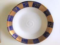 Michael Wainwright Signed Tempio Luna 24K Gold Blue Porcelain Soup Serving Bowl
