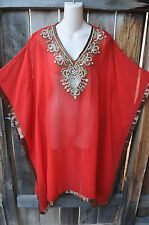 ART TO WEAR FLOWING PONCHO STYLE HAND BEADED TUNIC IN RED W?GOLD & SILVER, LG!