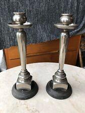 A Rare pair of Arts & Crafts Metal And Slate Candle Sticks Circa 1880