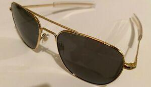 57mm Gold Frames American Optical AO Pilot Sunglasses