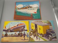 3 Vintage 1950s Puzzles: SIFO CO Acme Truck & Douglas DC-7 Plane, Boat on Water