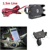 Aluminum Motorcycle Bike Handlebar GPS Phone Mount Bracket USB Charger 60-100mm