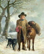Stunning Oil painting old man elder portrait donkey dog in winter Hand painted