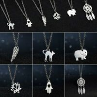 Charm Stainless Steel Cat Women Hollow Animal Silver Pendant Necklace Jewelry