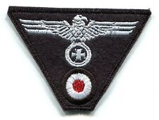 WWII German Heer Cap Trap Eagle Iron Cross White on Black Wool Panzer Patch