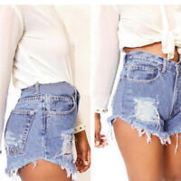 Ladies Vintage Ripped Womens High Waisted Stonewash Denim Shorts Jeans Pants New