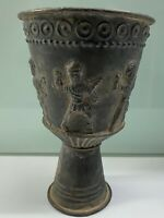 Unique ancient roman era bronze cup with idols figure around