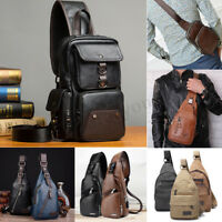 Men Chest Sling Pack Satchel Shoulder Crossbody Travel Bag Purse Backpack