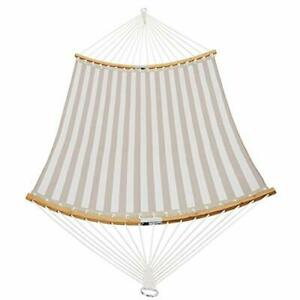 14 FT Quick Dry Hammock Folding Curved Bamboo Spreader Bar Beige Stripes