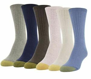GOLD TOE Women's 6 pack Crew Multi Color Socks, Size 9-11 fits shoe sizes 6-9