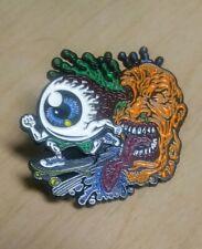Enamel Pin Zombie Head Eyeball Skateboard Halloween