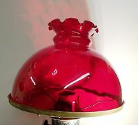 """RUBY RED STUDENT LAMP OIL LAMP GLASS SHADE KERO 10"""" RAYO STYLE OIL"""