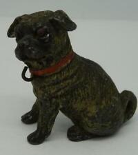 Beautiful Antique German Cold-Painted Lead Pug Miniature Figure,4cm x 3.7cm x 2