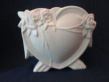 HEART SHAPE VASE! Vintage McCOY ART pottery circa 1943: gloss WHITE glaze EXC