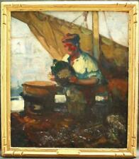 FRANK BRANGWYN 1867-1956 IMPRESSIONIST STUDY FISHERMAN Antique Oil Painting