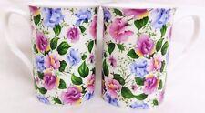 Sweet Pea Tazas Set 2 Porcelana Fina Rosa Azul Floral tazas decoradas a mano en el Reino Unido
