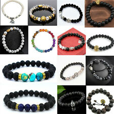 Fashion Black Lava Rock Onyx Stone Beaded Bracelet Charm Lion Buddha Bracelets