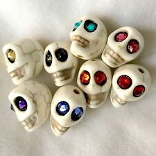 Howlite Stone Skull Beads with Glowing Swarovski Crystal Eyes Day of the Dead
