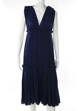 BOTTEGA VENETA Navy Blue V Nack Pleated Detail Sleeveless A-Line Dress Sz M