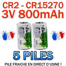 LOT DE 5 PILE ACCU BATTERIE CR2 LITHIUM (CR15270) 3V 800mAh EUNICELL CR2 CR-2