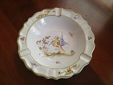 Vintage Atelier French Studio Pottery Ashtray Hand Painted Bird Butterfly Rare