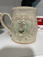 Vintage Studio Pottery Ugly Face Coffee Mug-Signed By Artist