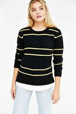 NEW UNIF x Urban Outfitters Black & Yellow Striped Waffle Layer Sweater Size XS