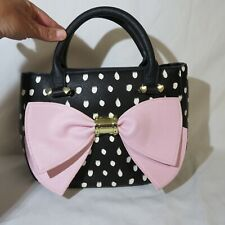 Betsey Johnson Hand Bag Black w/ White polka dots and  large  Pink Bow
