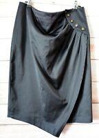 Sheike Pencil Skirt Size 14 Black Satin Tulip Wrap Front