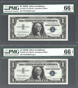1957B Silver Certificates  $1 X 2 notes 😱 RUNNING S/N 😱 PMG Grade 66 EPQ #928