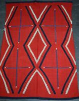 "Antique Navajo Serape Shoulder Blanket 83"" x 59"" Spiderwoman Cross 1870"