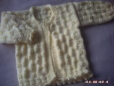 Hand Knitted Baby Girl's Yellow Cardigan/Jacket Size 3-6 Months.