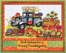 HARVEST FALL OLD FASHIONED TRUCK Wood Mounted Rubber Stamp NORTHWOOD NN10303 New