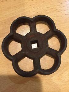 "Vintage Water Valve Shutoff 3 1/2"" Square Opening 3/8"" Flower Shaped Antique"