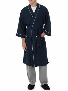 Fruit of the Loom Men's Beyond Soft Waffle Robe One Size Navy Kimono Style (NEW)