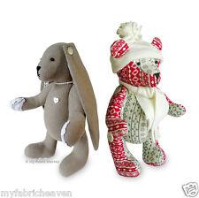 "2 x Sewing PATTERNS Jingle Bear 13"" Christmas Teddy & Lacy Bunny 11"" Rabbit Toys"