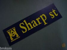 "Vintage OWEN ST Cathedral District Street Sign 30/"" X 9/"" GOLD on NAVY Ground"