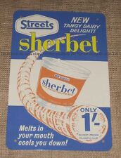 New STREETS ICE CREAM sherbet TIN SIGN! vintage retro Australian icecream advert