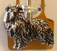 Shetland Sheepdog Dog Animal Silver Metal Charm Purse Key Ring Locator Finder