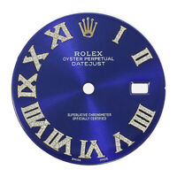 Blue Diamond Roman Numeral Dial for Rolex Datejust 36mm TT - Genuine Diamonds