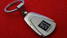 Peugoet Car Logo Trapezoid Metal Keyring with Red Velvet Gift Pouch (S2)