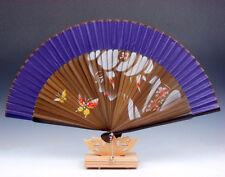 Palace Lady Butterfly Bamboo Folding Fan Hand Fan Wall Decor w/ Stand #02161703