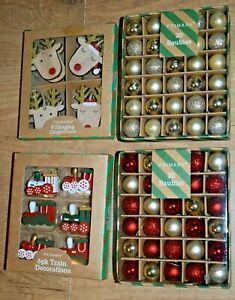 New Christmas tree baubles Ornaments Wooden Trains Reindeers Rudolph Gold Red