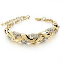 Women Exquisite Rhinestone Crystal Gold Bracelet Jewelry Adjustable Bangle Cuff