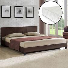 CORIUM® sommier tapissier matelas 140x200cm marron foncé simili-cuir lit double
